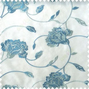 Beautiful natural blue cream color rose flower with longleaf embroidery floral pattern tendril flower poly fabric sheer curtain