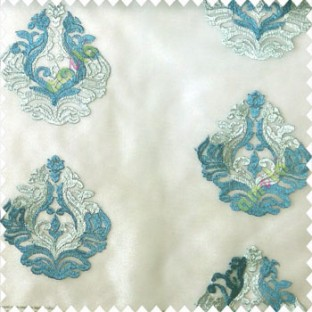 Blue grey color beautiful embroidery damask design traditional pattern embossed fines work with net background poly fabric main curtain