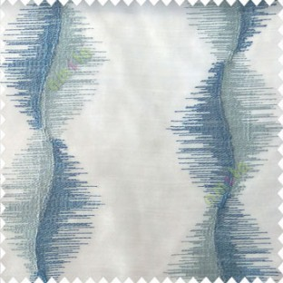 Blue white color vertical flowing lines sound vibration effect horizontal thread graph lines embroidery finished patterns poly fabric sheer curtain