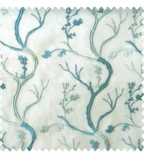 Blue grey color combination natural old tree floral cotton buds branches flowing designs net background embroidery patterns poly fabric sheer curtain