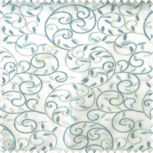 Blue white color beautiful embroidery swirl pattern leaf spring zigzag stitched designs poly fabric sheer curtain