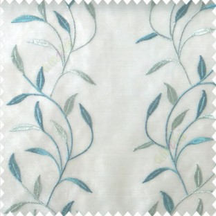 Blue white color combination elegant look floral leaf pattern long height floral leaf stem embroidery zigzag stitched designs poly fabric sheer curtain
