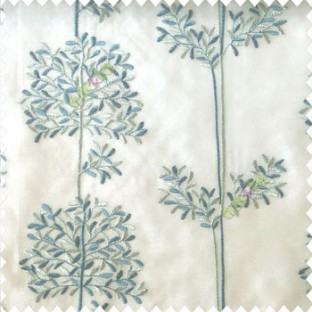 Blue grey color floral leaf pattern bunch of round small leaf on stem embroidery pattern poly fabric sheer curtain