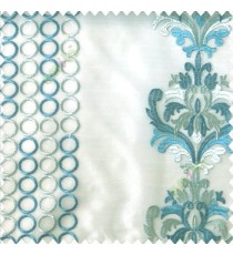 Blue grey color combination traditional damask vertical circles stripes geometric designs embroidery poly fabric sheer curtain