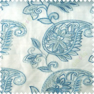 Blue white color traditional paisley design leaf swirls star flower zigzag stitched with net background poly fabric sheer curtain