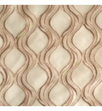 Brown beige color traditional ogee vertical curved flowing layers embroidery polyester sheer curtain