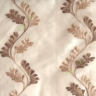 Brown beige color vertical flowing swirl traditional floral pattern wave design small flowing paisley pattern embroidery polyester sheer curtain