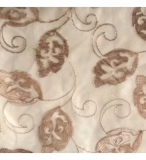 Traditional brown beige color traditional flower tendril flower buds embroidery polyester sheer curtain