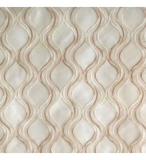 Beige cream color traditional ogee vertical curved flowing layers embroidery polyester sheer curtain