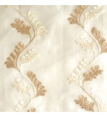 Beige cream color vertical flowing swirl traditional floral pattern wave design small flowing paisley pattern embroidery polyester sheer curtain