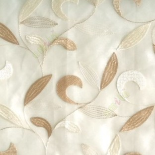 Traditional beige color beautiful floral swirl tendril flower pattern weaved designs embroidery polyester sheer curtain