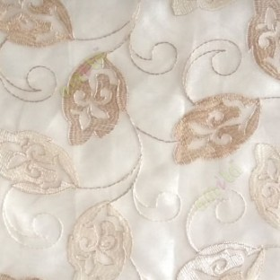 Traditional beige color traditional flower tendril flower buds embroidery polyester sheer curtain