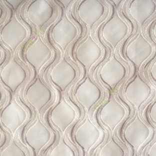 Grey cream white color traditional ogee vertical curved flowing layers embroidery polyester sheer curtain