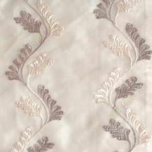 Grey cream color vertical flowing swirl traditional floral pattern wave design small flowing paisley pattern embroidery polyester sheer curtain