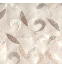 Traditional beige cream color beautiful floral swirl tendril flower pattern weaved designs embroidery polyester sheer curtain