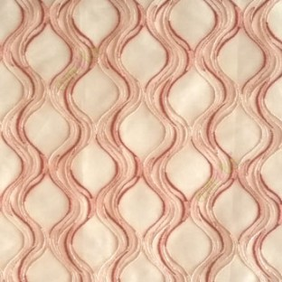Orange beige color traditional ogee vertical curved flowing layers embroidery polyester sheer curtain