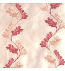 Orange beige color vertical flowing swirl traditional floral pattern wave design small flowing paisley pattern embroidery polyester sheer curtain
