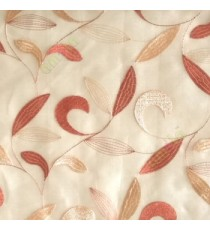 Traditional orange beige color beautiful floral swirl tendril flower pattern weaved designs embroidery polyester sheer curtain