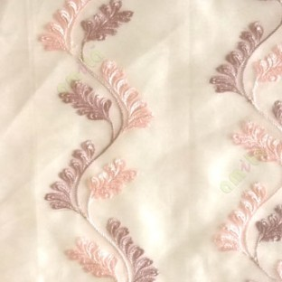 Purple pink color vertical flowing swirl traditional floral pattern wave design small flowing paisley pattern embroidery polyester sheer curtain