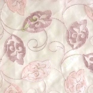 Traditional purple pink color traditional flower tendril flower buds embroidery polyester sheer curtain