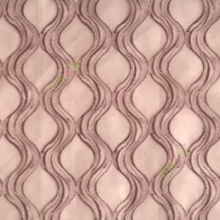 Brown color traditional ogee vertical curved flowing layers embroidery polyester sheer curtain