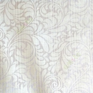 Grey beige color busy pattern with swirls floral leaf designs vertical thin lines polycotton main curtain