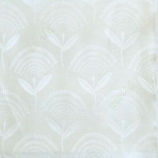White elegant look floral leaf stem pattern rain drop scales two leaves in a stem polycotton main curtain