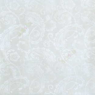 White color traditional paisley designs and swirls  flower leaf pattern polycotton main curtain