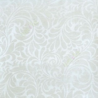 White color busy pattern with swirls floral leaf designs vertical thin lines polycotton main curtain