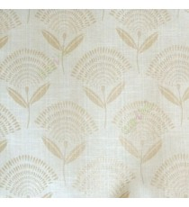 Beige cream elegant look floral leaf stem pattern rain drop scales two leaves in a stem polycotton main curtain