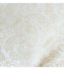 Beige cream color traditional paisley designs and swirls flower leaf pattern polycotton main curtain