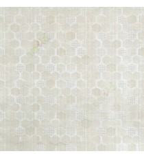 Cream beige color honeycomb hexagon geometric jute weaved pattern texture finished vertical thread lines polycotton main curtain