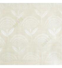 Cream beige elegant look floral leaf stem pattern rain drop scales two leaf in stem polycotton main curtain