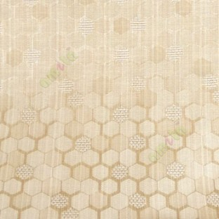 Brown cream color honeycomb hexagon geometric jute weaved pattern texture finished vertical thread lines polycotton main curtain