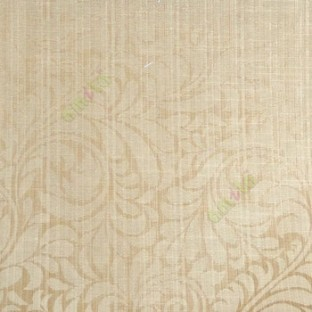 Brown beige color busy pattern with swirls floral leaf designs vertical thin lines polycotton main curtain