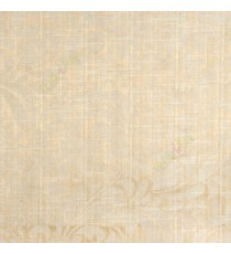 Cream beige color busy pattern with swirls floral leaf designs vertical thin lines polycotton main curtain