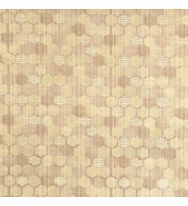 Brown beige color honeycomb hexagon geometric jute weaved pattern texture finished vertical thread lines polycotton main curtain