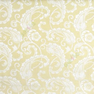 Green color traditional paisley designs and swirls flower leaf pattern polycotton main curtain