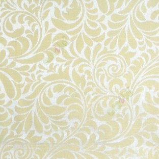 Green color busy pattern with swirls floral leaf designs vertical thin lines polycotton main curtain