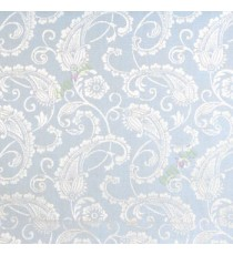 Blue color traditional paisley designs and swirls  flower leaf pattern polycotton main curtain