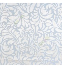 Blue color busy pattern with swirls floral leaf designs vertical thin lines polycotton main curtain