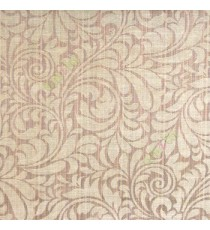 Dark brown black color busy pattern with swirls floral leaf designs vertical thin lines polycotton main curtain