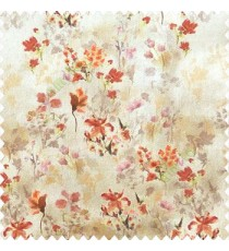 Elegant look orange brown yellow grey pink color natural small lily flower floral designs small flower and buds watercolor print pure cotton curtain fabric