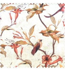 Red cream yellow green black color beautiful natural flower tree elegant look flying birds glowing flower and flower buds watercolor print pure cotton main curtain