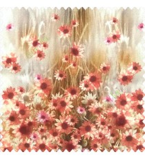 Red brown green pink cream color combination small water lily flower pattern vertical grass blurry background watercolor print flower buds pure cotton main curtain