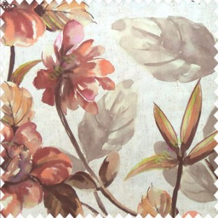 Beautiful natural brown green grey cream maroon color philodendron leaf big leaf flower bird of paradise flower pattern watercolor print pure cotton main curtain