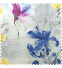 Elegant look blue yellow grey pink purple color natural lily flower floral designs small flower and buds watercolor print pure cotton curtain fabric