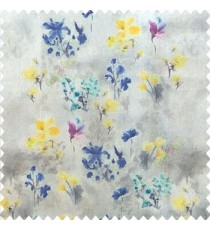 Elegant look blue yellow grey green color natural small lily flower floral designs small flower and buds watercolor print pure cotton curtain fabric