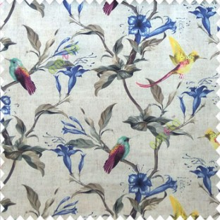 Yellow purple green brown cream pink color beautiful natural flower tree elegant look flying birds glowing flower and flower buds watercolor print pure cotton main curtain