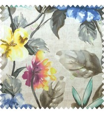 Beautiful natural blue grey yellow pink purple green cream color philodendron leaf big leaf flower bird of paradise flower pattern watercolor print pure cotton main curtain